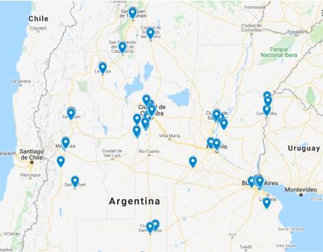 Mapa de geolocalización de integrantes de la Red